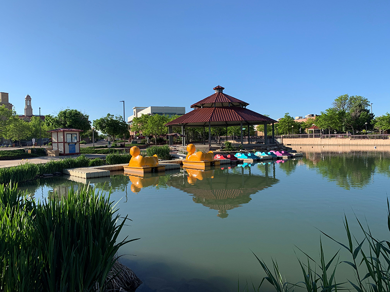 Boats and pavilion